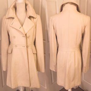 Winter White 3/4 Length Wool Blend Overcoat